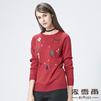 【麥雪爾】圓領圖案滑雪人針織上衣-紅