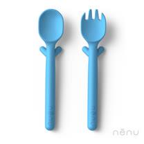 美國 NENU FAMILY 寶寶安全精品叉匙組 (藍色 - 2入)