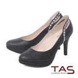 TAS 後鏤空方鑽曲線金蔥高跟鞋-閃耀黑