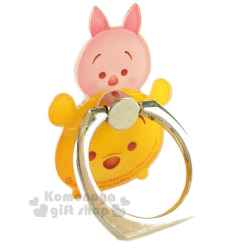 〔小禮堂〕迪士尼 Tsum Tsum 壓克力手機指環架~小熊維尼.堆疊~可360度旋轉