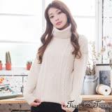 【Tiara Tiara】激安 羅紋麻花摺領長袖針織衫(米/淺灰)