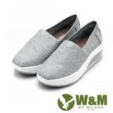 W&M BOUNCE系列 超彈力復古雲絲厚底增高 女鞋-銀灰(另有藍、黑)