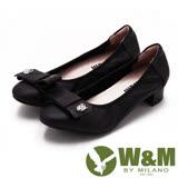 W&M 淑女蝴蝶結鑽飾造型低跟 女鞋-黑(另有灰)