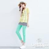 betty's貝蒂思 金屬釦飾彈性內搭褲(淺綠)