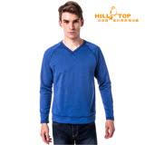 【hilltop山頂鳥】男款吸濕保暖刷毛上衣H51MG6海藍麻花