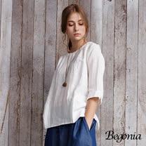 【Begonia】細織洞洞反褶七分袖上衣(共二色)