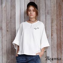 【Begonia】縫飾寬袖剪裁柔棉上衣(黑色)