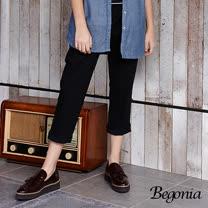 【Begonia】剪裁鬆緊彈性長褲(共兩色)