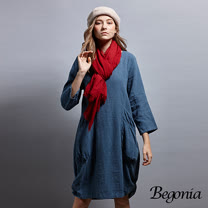 【Begonia】圓領大口袋抓皺苧麻洋裝(共兩色)