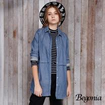【Begonia】條紋配色長版牛仔襯衫(黑色)