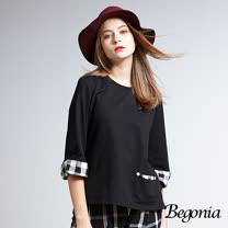 【Begonia】格紋袖鈕釦口袋棉上衣(共兩色)