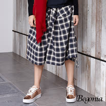 【Begonia】棉麻格紋抽繩鬆緊寬褲(藍格)