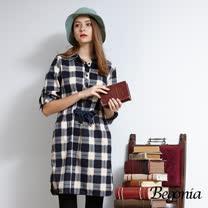 【Begonia】蝴蝶結綁帶反褶袖格紋洋裝(共兩色)