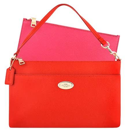 COACH 防刮皮革手提包-附可拆拉鍊長夾-橘紅色