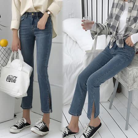 【韓國KW】(預購) M~XL水洗丹寧雅痞開叉牛仔褲