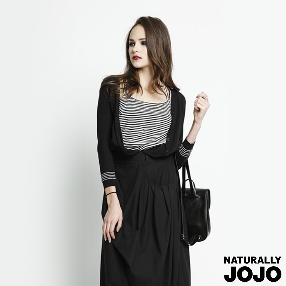 【NATURALLY JOJO】配條棉質小外套 黑