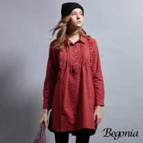 【Begonia】打褶印花刷毛長版上衣(共兩色)