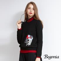 【Begonia】造型毛巾貼布彈性棉上衣(共三色)