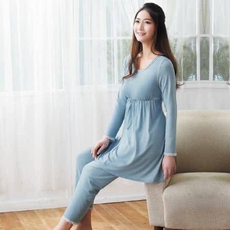 【華歌爾睡衣】天絲棉針織 M-L 長袖圓領褲裝(藍)