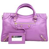 【BALENCIAGA】巴黎世家City金釦手提肩背機車包(桃紫色)