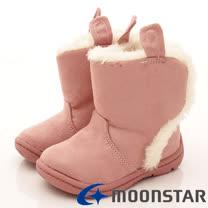 日本Carrot機能童鞋-Q耳朵造型保暖短靴款(B964粉-13-15cm)