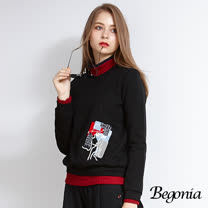 【Begonia】配色半高領彈性針織上衣(共兩色)