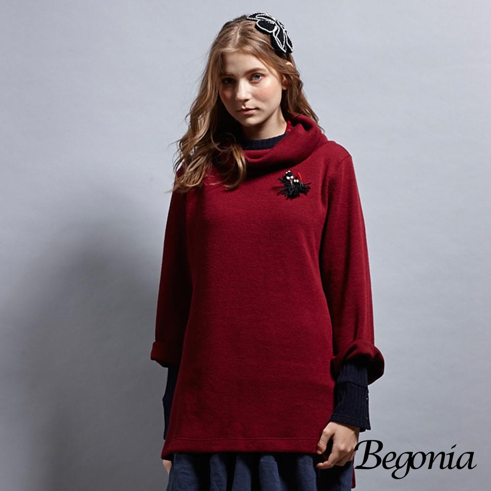 【Begonia】鬆糕領喇叭袖針織長版上衣(丈青色)
