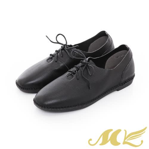 MK~ 限定~超柔軟真皮手縫馬克綁帶平底休閒鞋~黑色