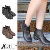 【Pretty】雙皮帶釦飾側拉鍊中粗跟短靴
