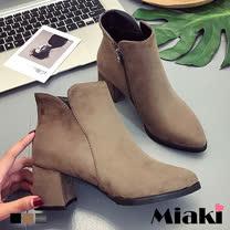 【Miaki】短靴歐美率性V型剪裁尖頭粗跟包鞋 (卡其色 / 黑色)