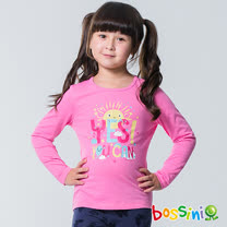 bossini女童-印花長袖T恤05桃粉