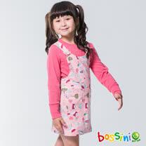 bossini女童-背心式印花連身裙嫩粉