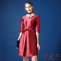 【麥雪爾】素色亮面蝴蝶結洋裝