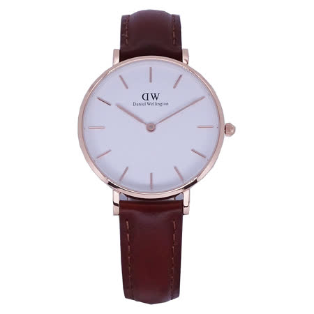 Daniel Wellington <br>時尚優質淺咖啡皮革腕錶