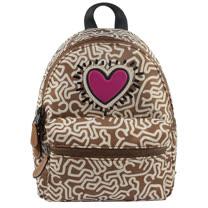 COACH Keith Haring聯名限量款愛心人形塗鴉小後背包.奶茶咖