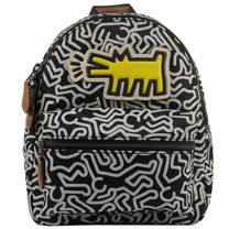 COACH  Keith Haring聯名限量款黃狗人形塗鴉小後背包.黑白