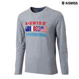 K-Swiss Si-18 Tee印花長袖T恤-男-灰