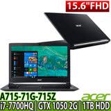 Acer 宏碁 A715-71G-715Z 15.6吋FHD/i7-7700HQ/GTX 1050 2G獨顯/Win10 筆電隨機-送64G隨身碟/三合一清潔組/鍵盤膜/滑鼠墊