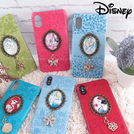 Disney迪士尼iPhone  X 時光寶石吊飾皮革壓紋背蓋 保護殼