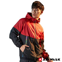 【AIRWALK】男款連帽風衣外套 -紅色