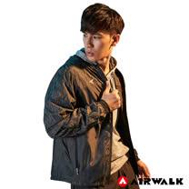 【AIRWALK】男款連帽拼接反光外套-黑色