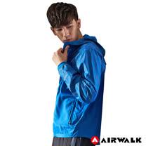 【AIRWALK】男款連帽拼接反光外套-中藍色