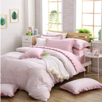 OLIVIA 《 Ashley  》 加大雙人床包荷葉枕套三件組 鄉村公主房系列