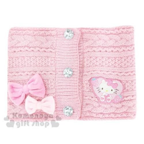 〔小禮堂〕Hello Kitty 兒童絨毛圍巾~粉.愛心草莓.坐姿.銀水鑽~2017溫暖
