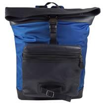 COACH  經典LOGO撞色洞洞皮革尼龍折疊後背包.藍/深藍
