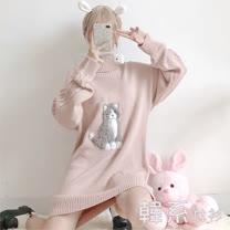 【韓系女衫】高領長版立體貓咪綿衫20171029-4