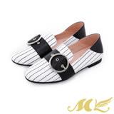 MK-全真皮-紳士條紋寬腰帶平底粗跟休閒鞋-白色