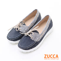ZUCCA【z6202be】日系車線縫綁帶厚底包鞋-藍色