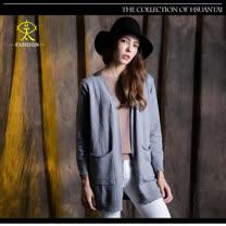 玄太-純色雙口袋造型罩衫(灰)