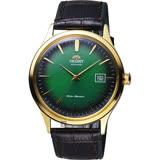 ORIENT東方 DATE Ⅱ 紳士機械錶-綠x金框/42mm FAC08002F